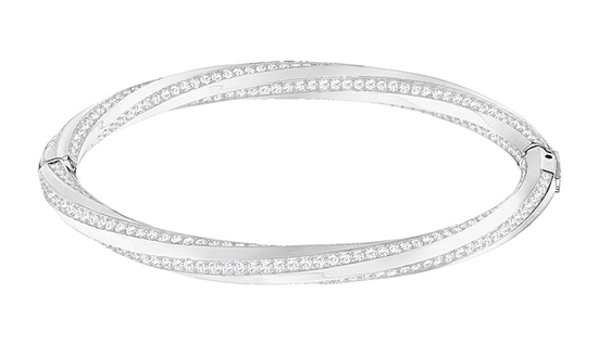 HILT BANGLE, WHITE, RHODIUM PLATING