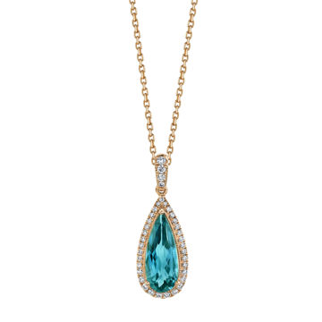 14kt Rose Gold London Blue Topaz and Diamond Halo Pendant