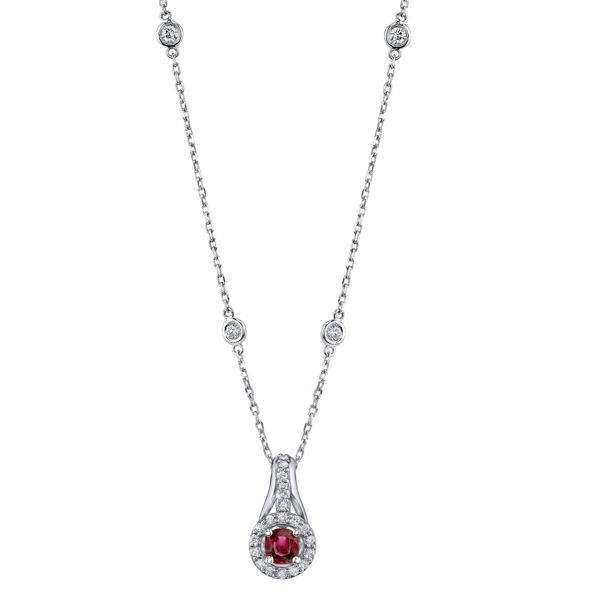 14Kt. White Gold Contemporary Halo Design Ruby and Diamond Pendant