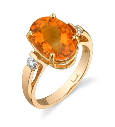 14Kt Yellow Gold Classic Three Stone Diamond and Large Oval Citrine Ring
