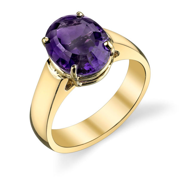 14Kt Yellow Gold Oval Amethyst Classic Solitaire Ring