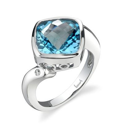 14Kt White Gold Bypass Style Cushion Cut Blue Topaz and Diamond ring