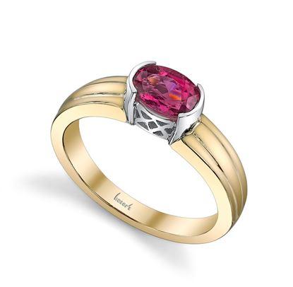 14Kt. White and Yellow Gold Semi Bezel Set Oval Pink Tourmaline Ring