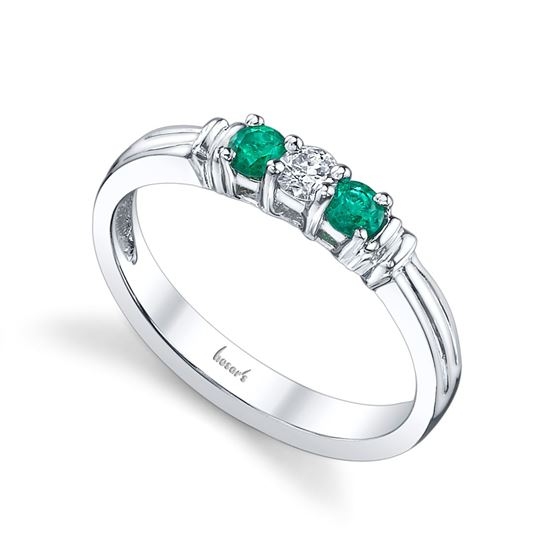 14Kt White Gold Classic Three Stone Style Emerald and Diamond Ring