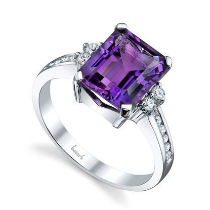 14Kt White Gold Emerald Cut Amethyst and Diamond Classic Style Ring