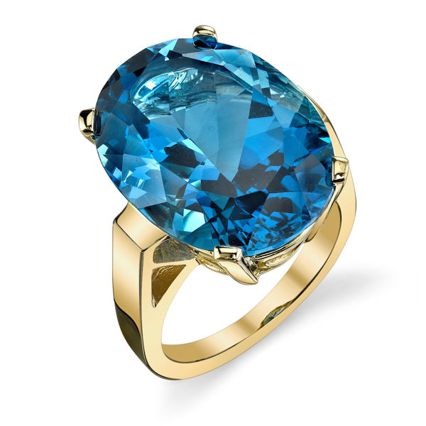 14Kt Yellow Gold Bold Oval Blue Topaz Solitaire Ring