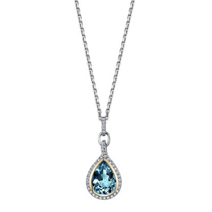 14Kt White and Yellow Gold Dynamic Pear Shaped Aquamarine and Diamond Halo Pendant