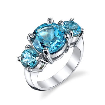 14KT White Gold Classic Three Stone Blue Topaz Wide Ring