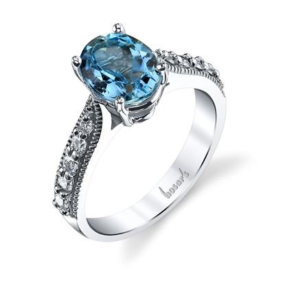 14Kt White Gold Classic Oval Aquamarine and Diamond Ring