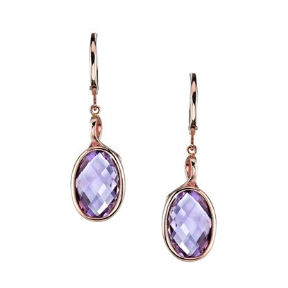 14Kt Rose Gold Oval Amethyst Dangle Earrings