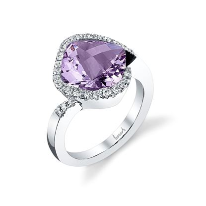 14Kt White Gold Cushion Cut Amethyst and Diamond Partial Halo Ring