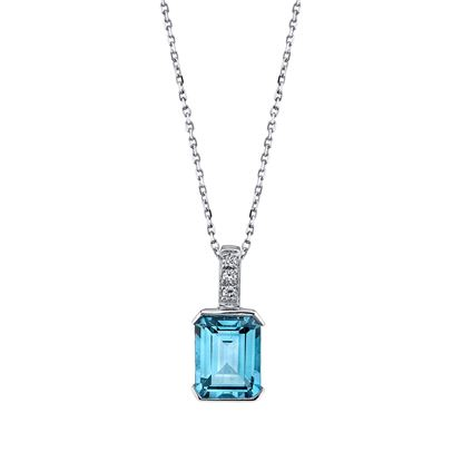 14Kt White Gold Classic Octagon Shaped Blue Topaz with Diamond Bale Pendant