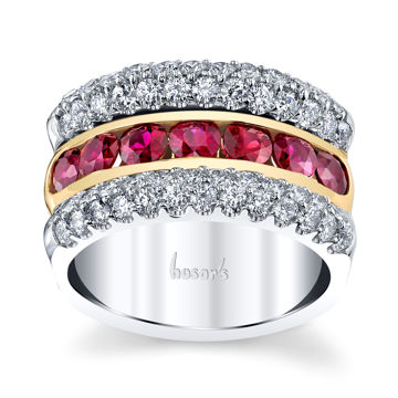 14Kt. White and Yellow Gold Three Row Ruby and Diamond Ring