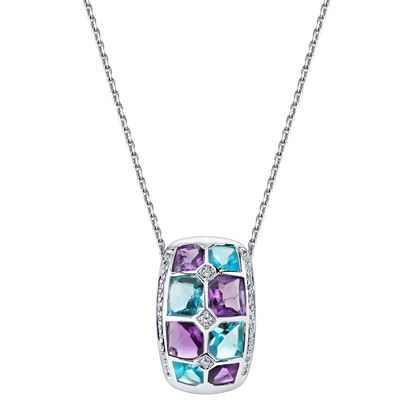 14Kt White Gold Checkerboard Amethyst, Blue Topaz and Diamond Pendant