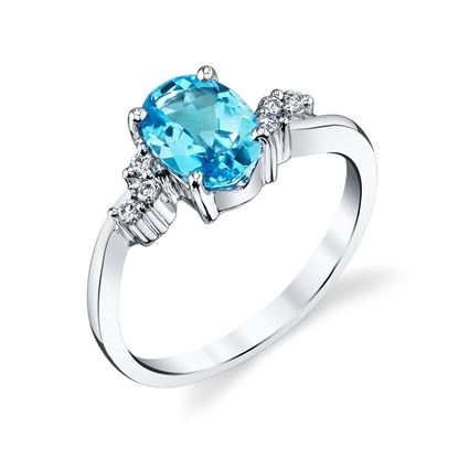14Kt White Gold Curve Style Oval Blue Topaz and Diamond Ring