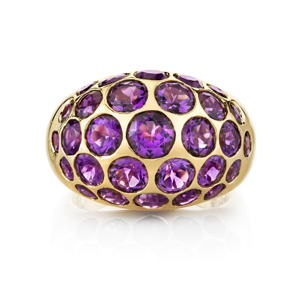 14Kt Yellow Gold Dynamic Scattered Amethyst Domed Ring