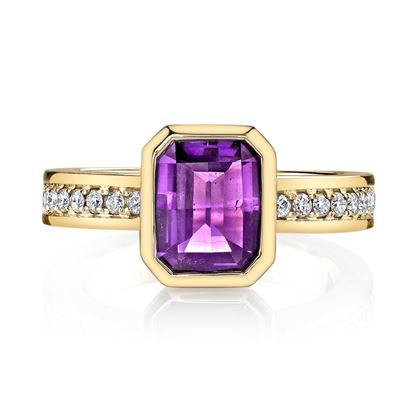 14Kt Yellow Gold Bezel Set Emerald Cut Amethyst and Diamond Popular Ring