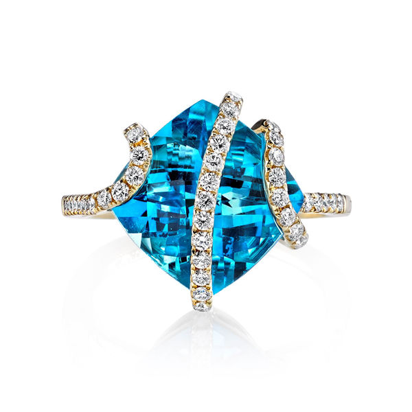 14Kt Yellow Gold Contemporary Diamond Swirl Design over Cushion Cut Blue Topaz Ring
