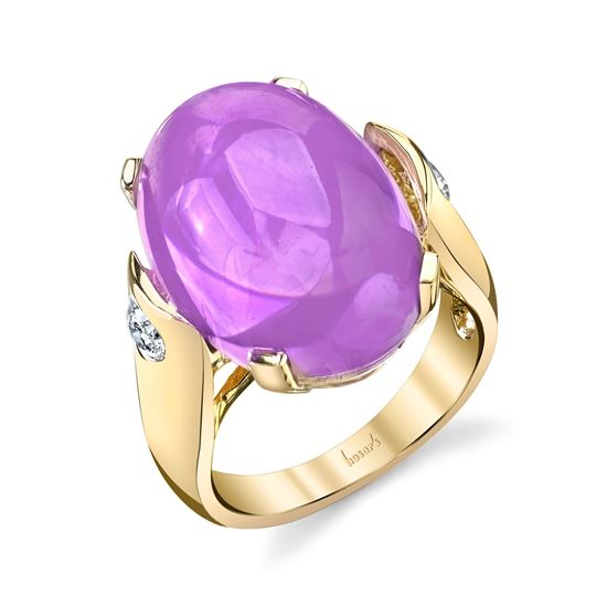 14Kt Yellow Gold Large Cabochon Amethyst and Diamond Ring