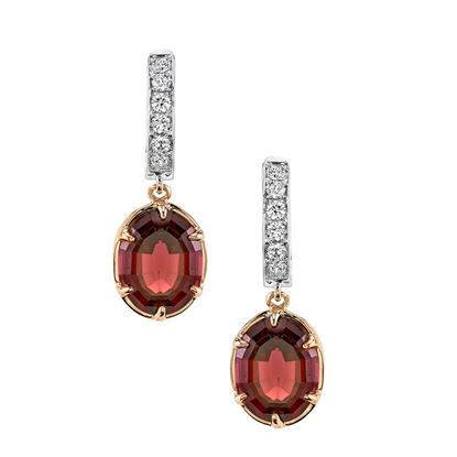 14Kt White and Rose Gold Rhodalite Garnet and Diamond Drop Earrings