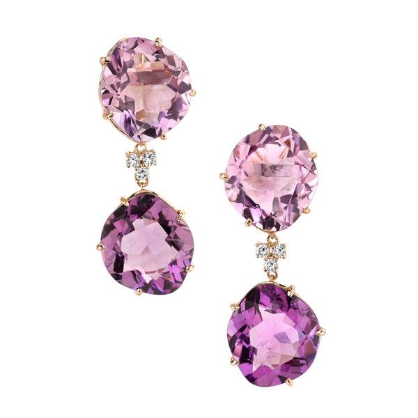14Kt Rose Gold Natural Slab Amethyst and Diamond Dangle Earrings