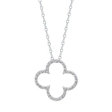 14kt White Gold Classic Style Diamond Clover Pendant