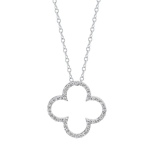14kt White Gold Classic Style Diamond Clover Pendant