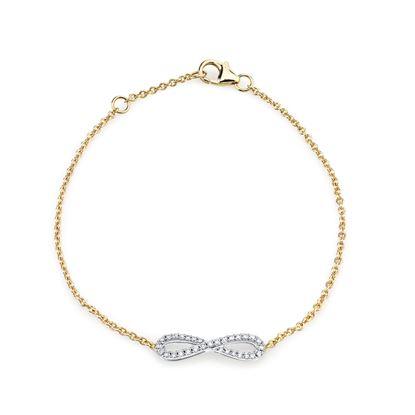 14kt White and Yellow Gold Infinity Symbol Diamond Bracelet
