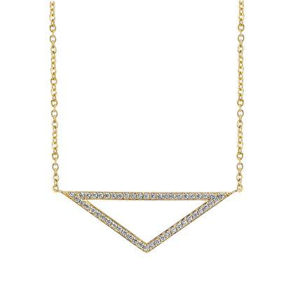 14kt Yellow Gold Contemporary Diamond Triangle Pendant