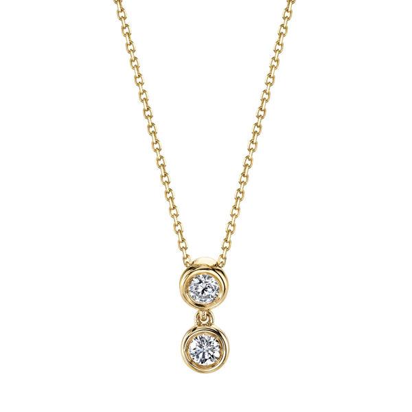14kt Yellow Gold Bezel Set Two-Stone Diamond Pendant