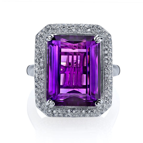14Kt White Gold Pave Halo Style Emerald Cut Amethyst and Diamond Ring
