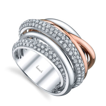 14Kt White and Rose Gold Contemporary Intertwining Diamond Right Hand Ring