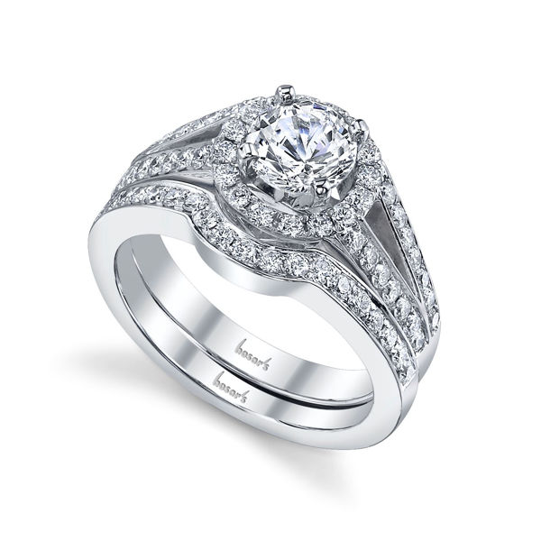14Kt White gold Updated Split Shank Halo Diamond Engagement Ring