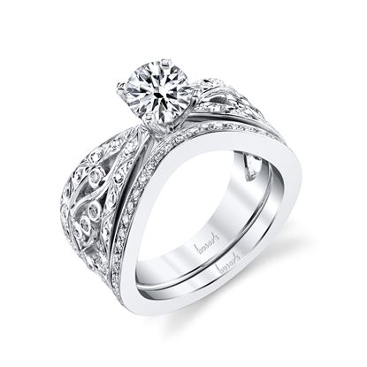 14Kt White Gold Pinch Shank Filagree Diamond Engagement Ring