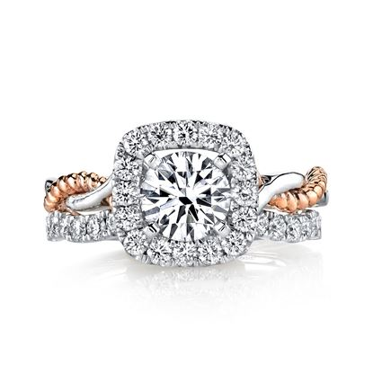 14Kt White and Rose Gold Twist Halo Diamond Engagement Ring with Rope Detail