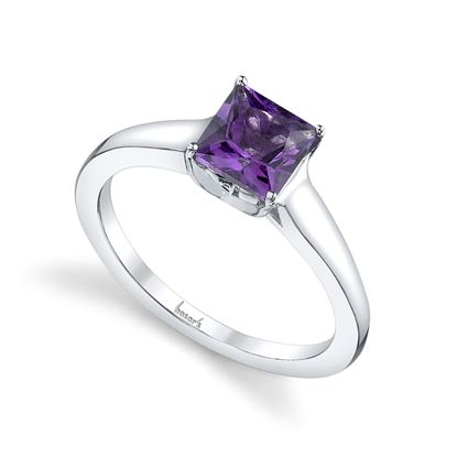 14Kt White Gold Princess Cut Amethyst Solitaire Ring