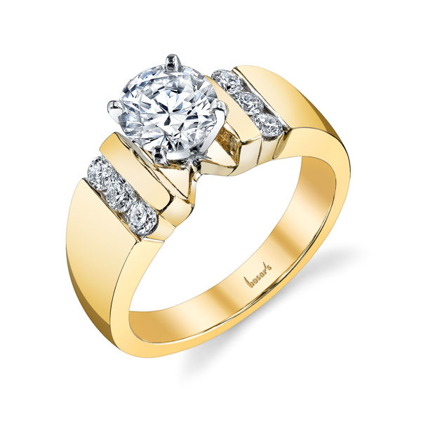 14Kt Yellow Gold Solid Cathedral with Vertical Channel Set Diamond Engagement Ring