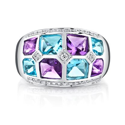 14Kt White Gold Checkerboard Amethyst, Blue Topaz and Diamond Ring