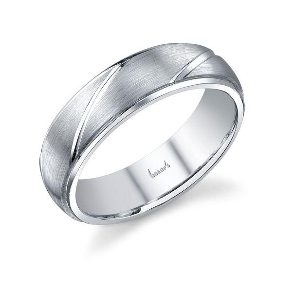 14Kt White Gold Men's Wedding Ring with Brushed Finish