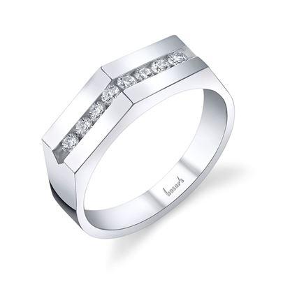 14Kt White Gold Men's Pointed Diamond Wedding Ring