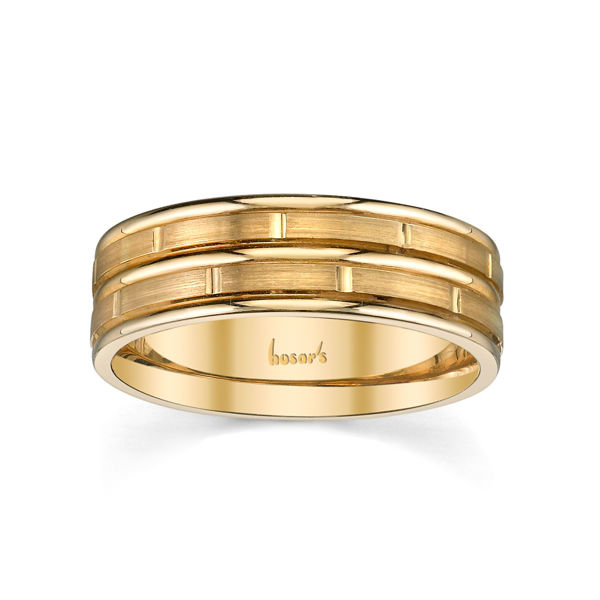 14Kt Yellow Gold Men's Brick Patterned Wedding Ring