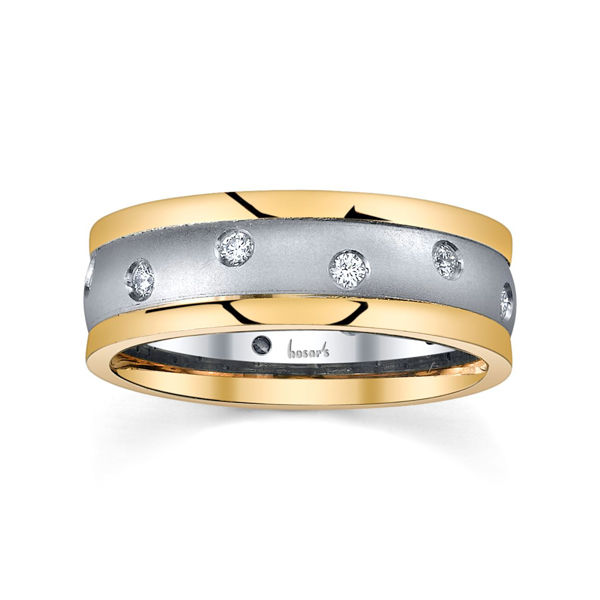 14Kt White and Yellow Gold Men's Scattered Diamond Wedding Ring