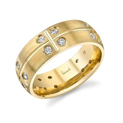 14Kt Yellow Gold Men's Checkered Diamond Wedding Ring with Engraving