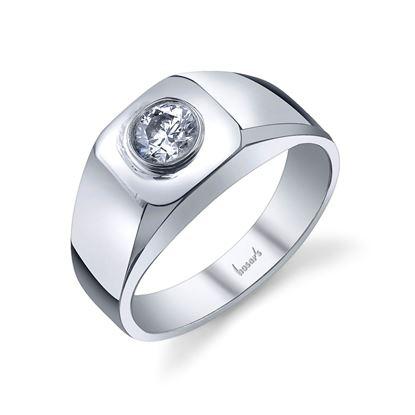 14Kt White Gold Men's Solitaire Diamond Wedding Ring