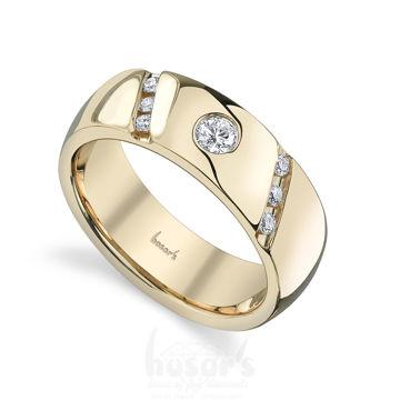 14Kt Yellow Gold Men's Bezel Set Diamond Wedding Ring