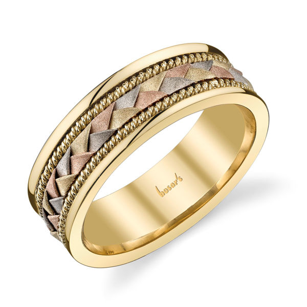 14Kt White, Yellow and Rose Gold Braided Men's Wedding Band