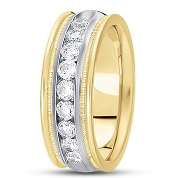 14Kt White and Yellow Gold Men's Diamond Wedding Ring with milgrain edge.