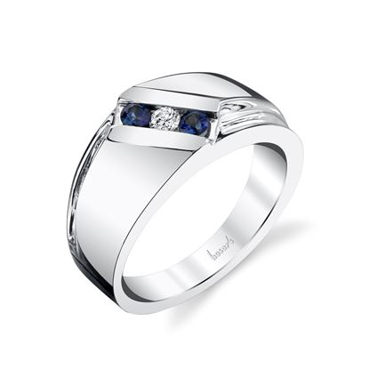 14Kt White Gold Men's Bypass Style Diamond and Sapphire Wedding Ring