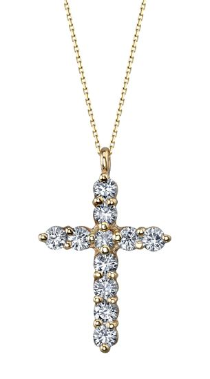 14Kt Yellow Gold Iconic Diamond Cross Pendant