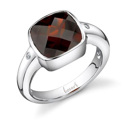 14Kt White Gold Modern Bezel Set Cushion Cut Pyrope Garnet and Flush Set Diamond Ring